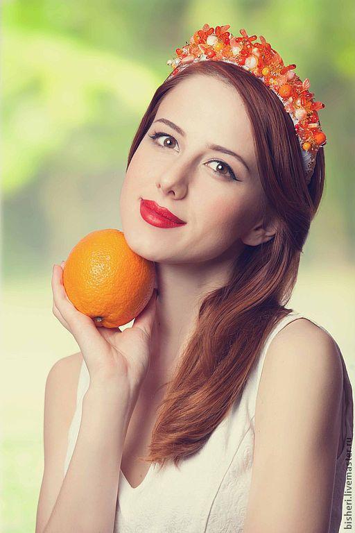 Диадемы, обручи ручной работы. Ярмарка Мастеров - ручная работа. Купить Оранжевый восторг (ободок расшитый). Handmade. Оранжевый, бархат