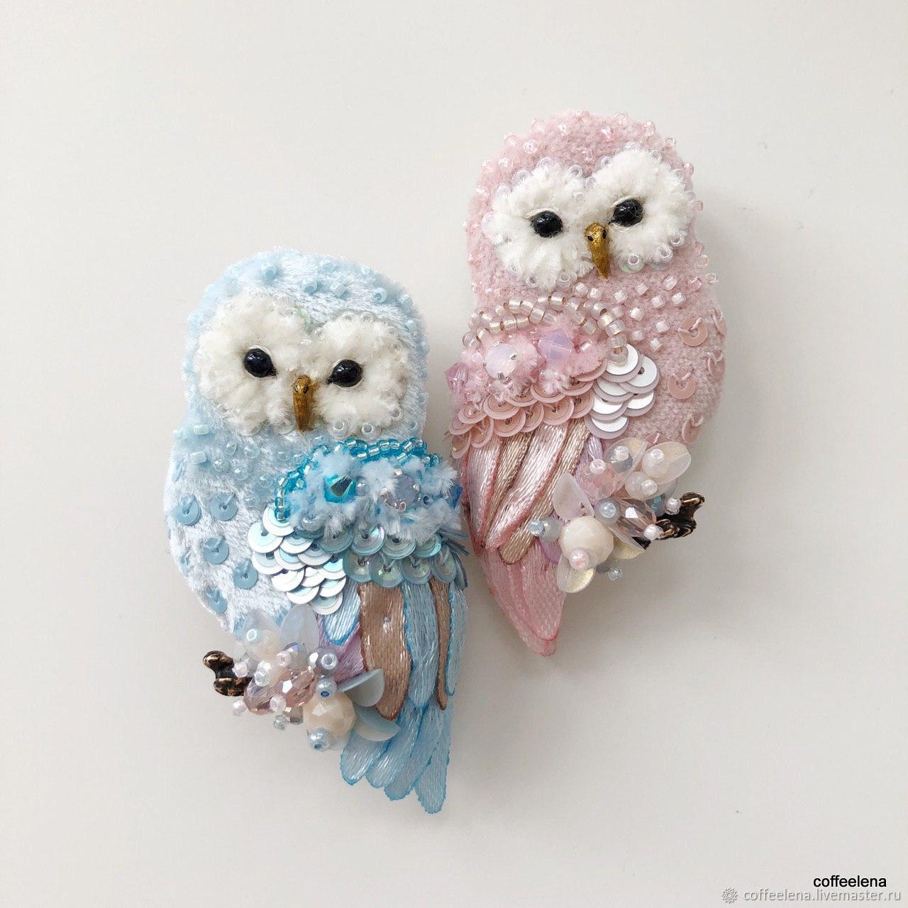 Brooch ' Blue and Pink Owl'. Brooch bird, Brooches, Krasnodar,  Фото №1