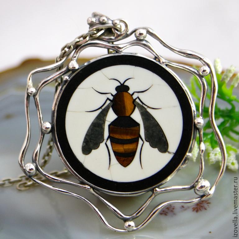 Pendant 'Bee' - the Florentine mosaic silver, Pendants, Prague,  Фото №1