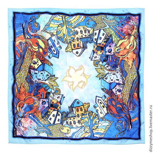 """Шали, палантины ручной работы. Ярмарка Мастеров - ручная работа. Купить Платок шейный """"Зеркальный город Зима"""". Handmade. Синий"""