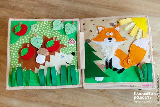 """Развивающие игрушки ручной работы. Ярмарка Мастеров - ручная работа. Купить Развивающая книжка-игрушка """"Про зверей и птичек"""". Handmade."""