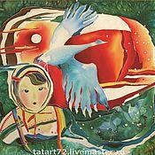 """Картины и панно ручной работы. Ярмарка Мастеров - ручная работа Картина """"Сказ"""" батик. Handmade."""