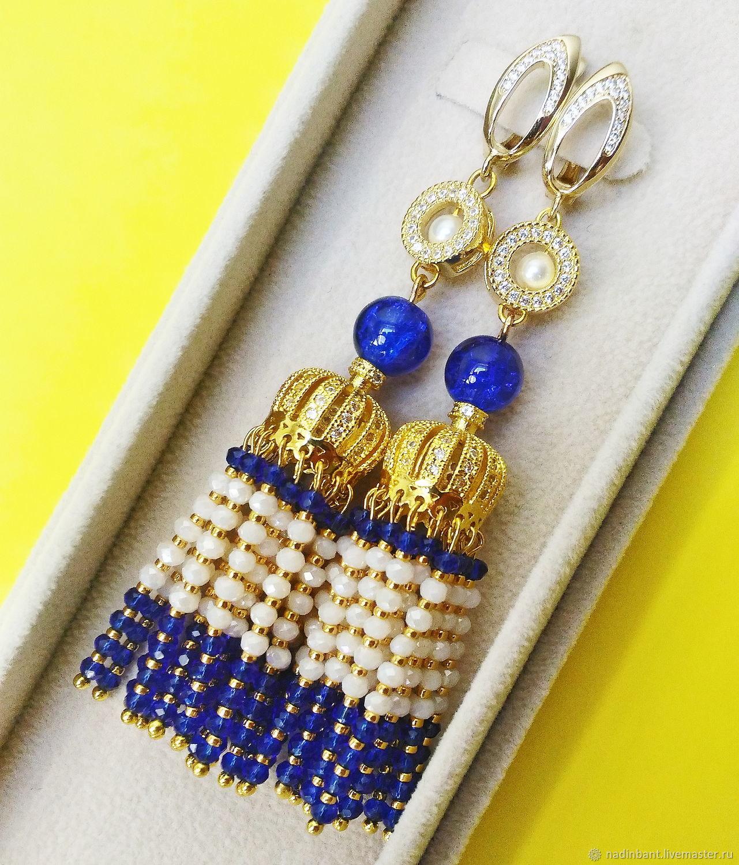 Earrings brush ' Blue and White', Tassel earrings, St. Petersburg,  Фото №1