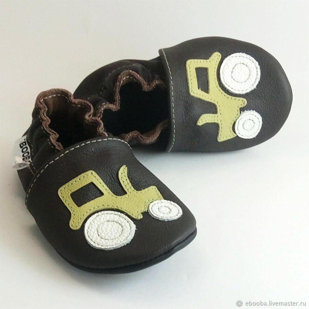 Baby Shoes with Tractor, Dark Brown Boy Shoes, Soft Sole Baby Shoes, Footwear for childrens, Kharkiv,  Фото №1