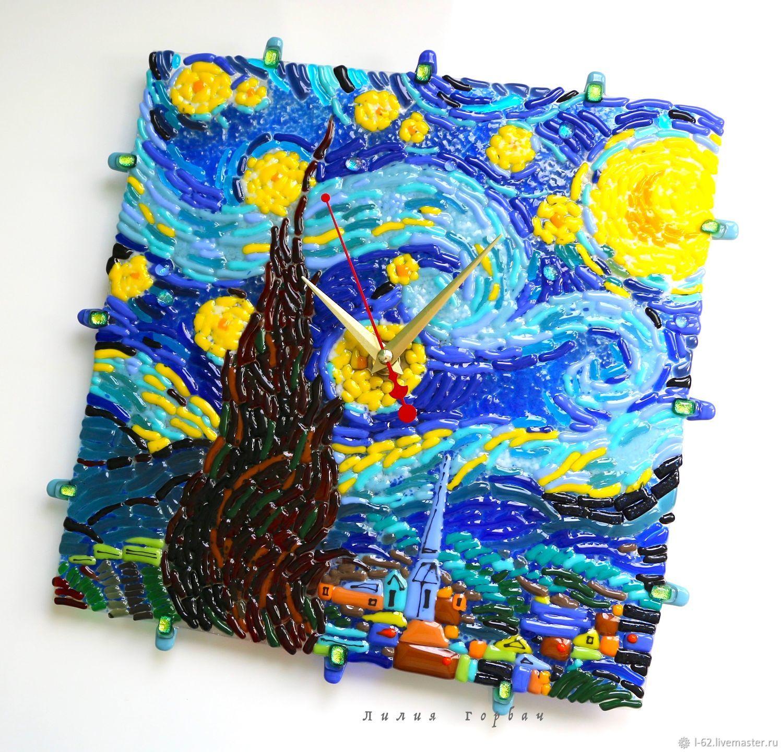 Clocks handmade. Livemaster - handmade. Buy Watch glass, fusing Almost moonlit night.Van Gogh.Gift, starry night