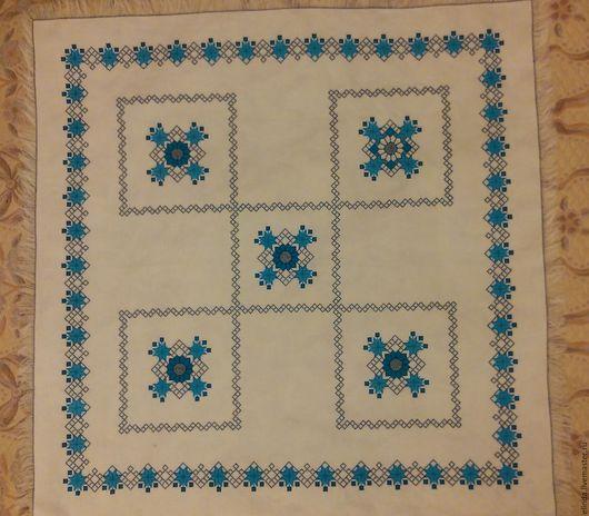 """Текстиль, ковры ручной работы. Ярмарка Мастеров - ручная работа. Купить Вышитая скатерть """"Голубые узоры"""". Handmade. Бирюзовый"""