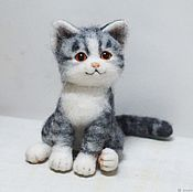 Куклы и игрушки handmade. Livemaster - original item Gray striped kitten cat. felted toy made of wool. Handmade.