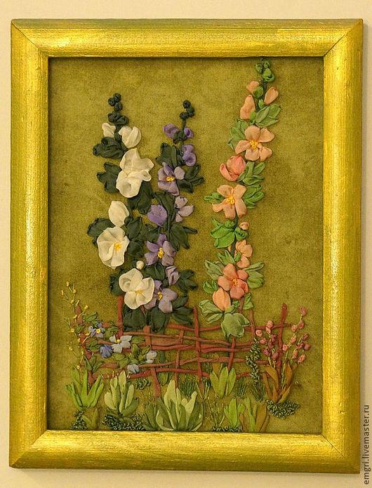 Картины цветов ручной работы. Ярмарка Мастеров - ручная работа. Купить Картина вышитая лентами Прекрасные мальвы (скидк 30%). Handmade.