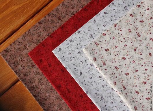 Шитье ручной работы. Ярмарка Мастеров - ручная работа. Купить Ткань для пэчворка Basic. Handmade. Красный, цветочный орнамент, коричневый