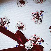 Материалы для творчества ручной работы. Ярмарка Мастеров - ручная работа Штапель вискозный Бордовые цветы. Handmade.