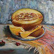 Картины и панно ручной работы. Ярмарка Мастеров - ручная работа Картина маслом Сочная дыня. Handmade.