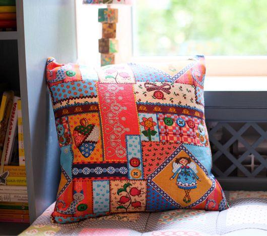 Текстиль, ковры ручной работы. Ярмарка Мастеров - ручная работа. Купить Подушка в стиле пэчворк. Handmade. Подушка, подушка на диван