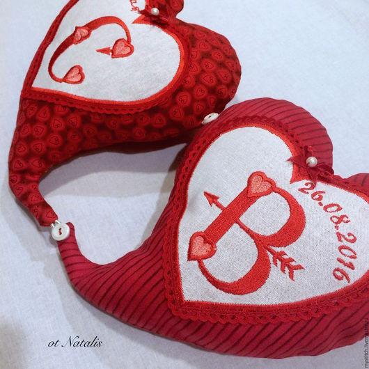 """Подарки для влюбленных ручной работы. Ярмарка Мастеров - ручная работа. Купить Сердечки текстильные """"Два сердца-одна любовь"""". Handmade."""