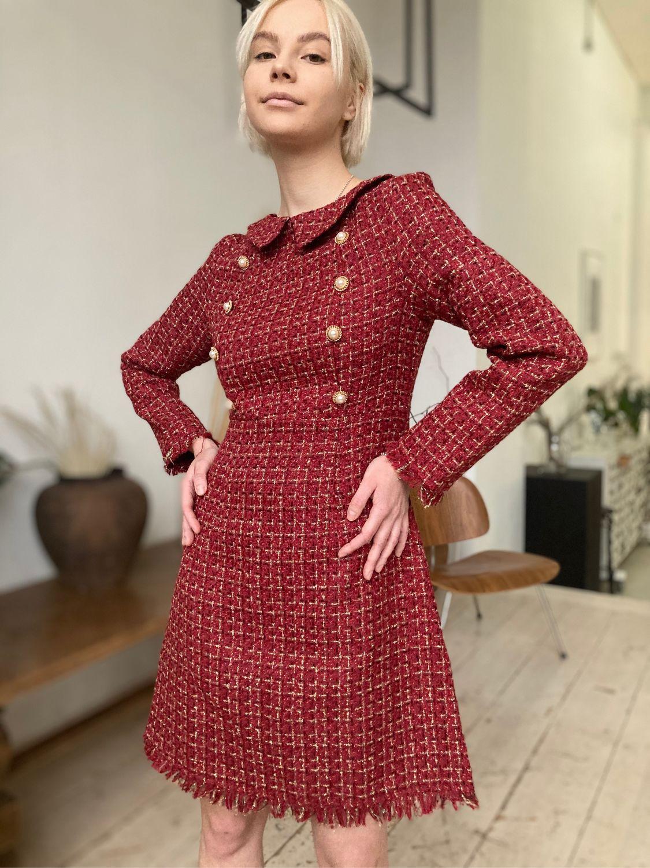 Бордовое платье из твида в стиле Шанель, Платья, Москва,  Фото №1