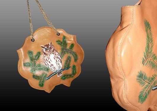Женские сумки ручной работы. Ярмарка Мастеров - ручная работа. Купить СОВА. Handmade. Кожа натуральная, шёлк, фурнитура, кожа