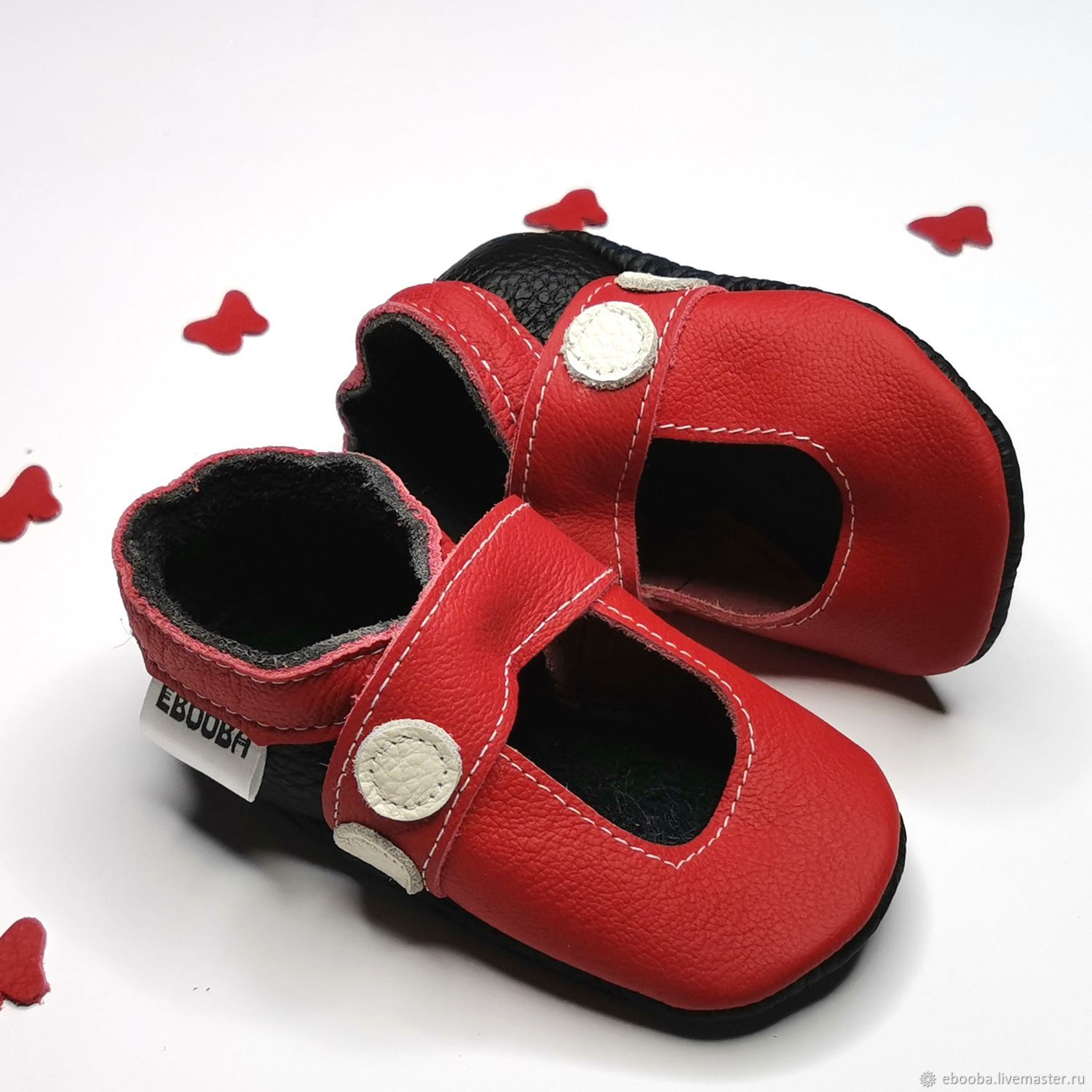 Red Baby Shoes,Leather Baby Shoes, Baby sandals,Ebooba, Footwear for childrens, Kharkiv,  Фото №1