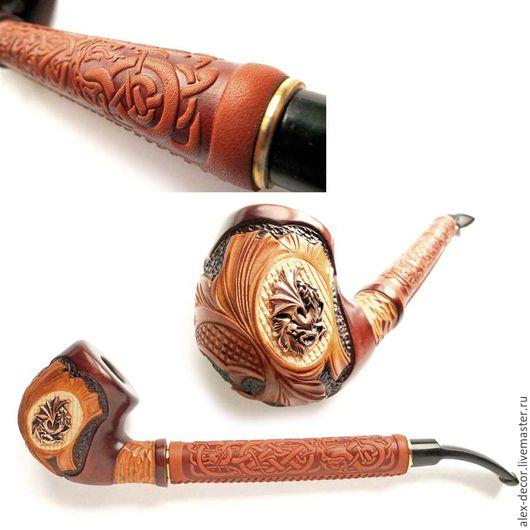 Подарки для мужчин, ручной работы. Ярмарка Мастеров - ручная работа. Купить Курительная трубка с кожей -711069-S02. Handmade.
