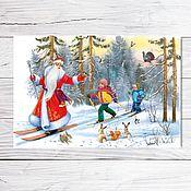 """Открытки ручной работы. Ярмарка Мастеров - ручная работа Открытка для посткроссинга """"Дед Мороз на лыжах"""". Handmade."""