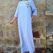 Одежда ручной работы. Ярмарка Мастеров - ручная работа Вышитое голубое льняное платье, макси платье, кафтан - ручная работа. Handmade.