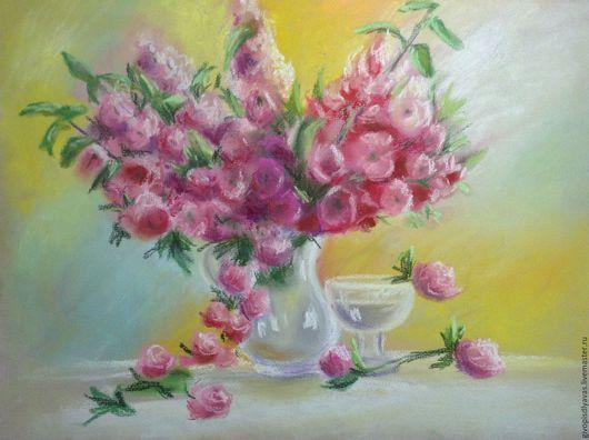 Картины цветов ручной работы. Ярмарка Мастеров - ручная работа. Купить Нежные розы, (в раме). Handmade. Розовый, пастель