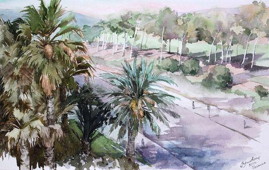Пейзаж ручной работы. Ярмарка Мастеров - ручная работа. Купить Солнечная Испания. Handmade. Пейзаж, солнечный, тёмно-зелёный, акварель
