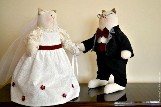 """Куклы Тильды ручной работы. Ярмарка Мастеров - ручная работа. Купить Куклы """"Свадебные Котики"""". Handmade. Комбинированный, свадебные аксессуары"""