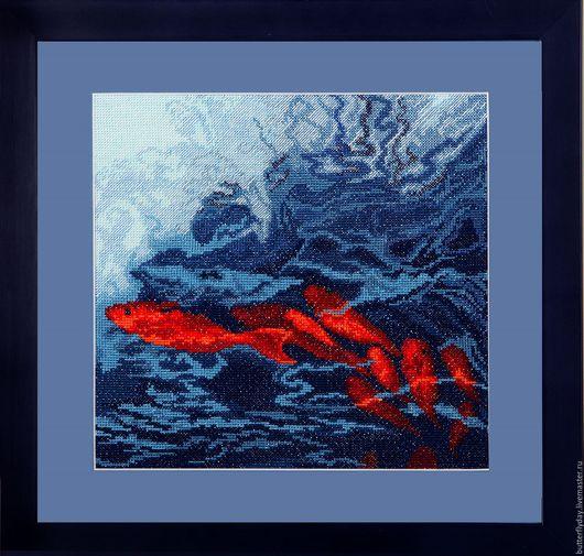 """Пейзаж ручной работы. Ярмарка Мастеров - ручная работа. Купить Картина,вышитая крестиком """"Морская пучина"""". Handmade. Тёмно-синий"""