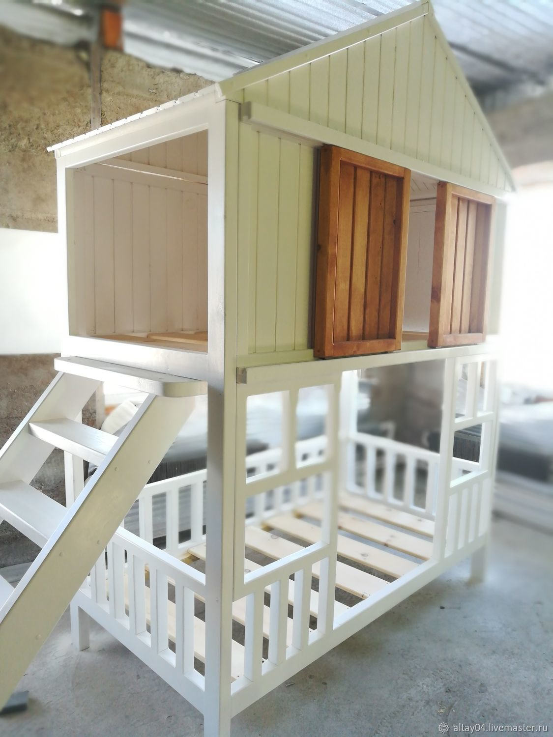 Two-tiered children's cabin bed made of solid cedar, Bed, Turochak,  Фото №1