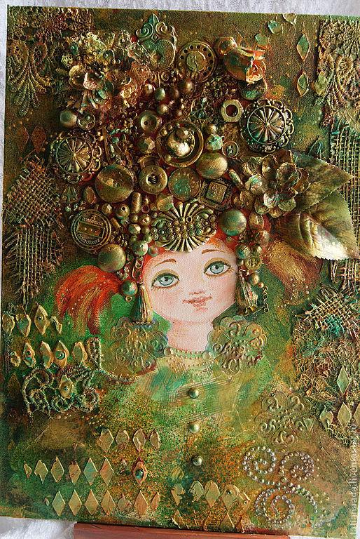 Купить коллаж mixed-media.Татьяна Адаменко.Коллаж яркий.Зеленый,золотой коллаж.Коллаж-панно.Коллаж-картина.Коллаж на холсте.