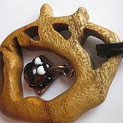 Украшения handmade. Livemaster - original item Pendant lady Lampwork and wood TICK. Handmade.