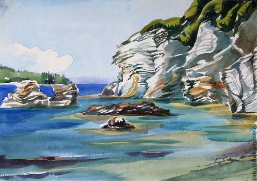 """Пейзаж ручной работы. Ярмарка Мастеров - ручная работа. Купить Акварель """"Ионическое море"""". Handmade. Синий, море, пляж, скалы"""