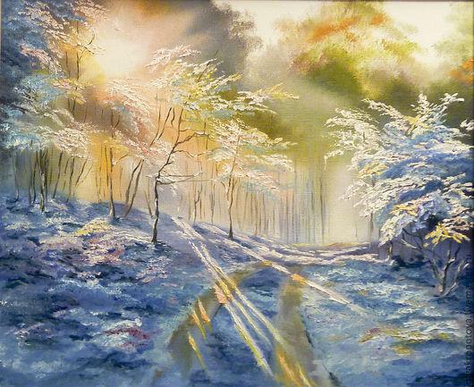 Пейзаж ручной работы. Ярмарка Мастеров - ручная работа. Купить Зимнее утро. Handmade. Зима, солнце, утро, пейзаж, лес