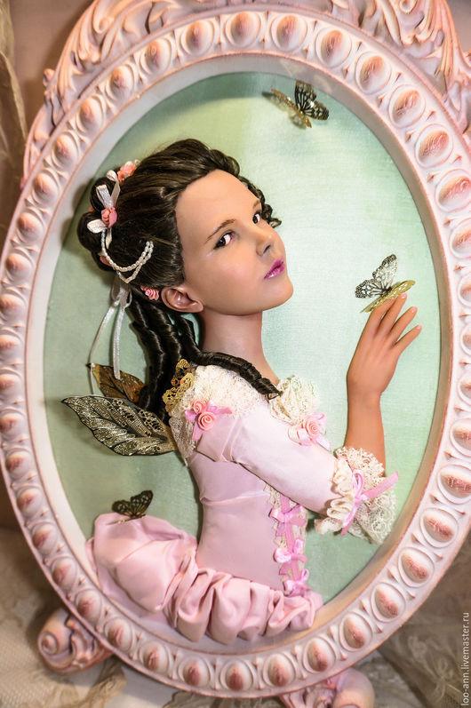 Коллекционные куклы ручной работы. Ярмарка Мастеров - ручная работа. Купить Фея и бабочки барельеф. Handmade. Бледно-розовый, барельеф