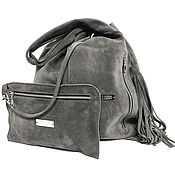 Сумки и аксессуары handmade. Livemaster - original item T-shirt Bag Suede Bag Bag Gray Suede Bag Trunk Hobo. Handmade.