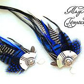 Earrings handmade. Livemaster - original item Bright blue feather earrings.. Handmade.