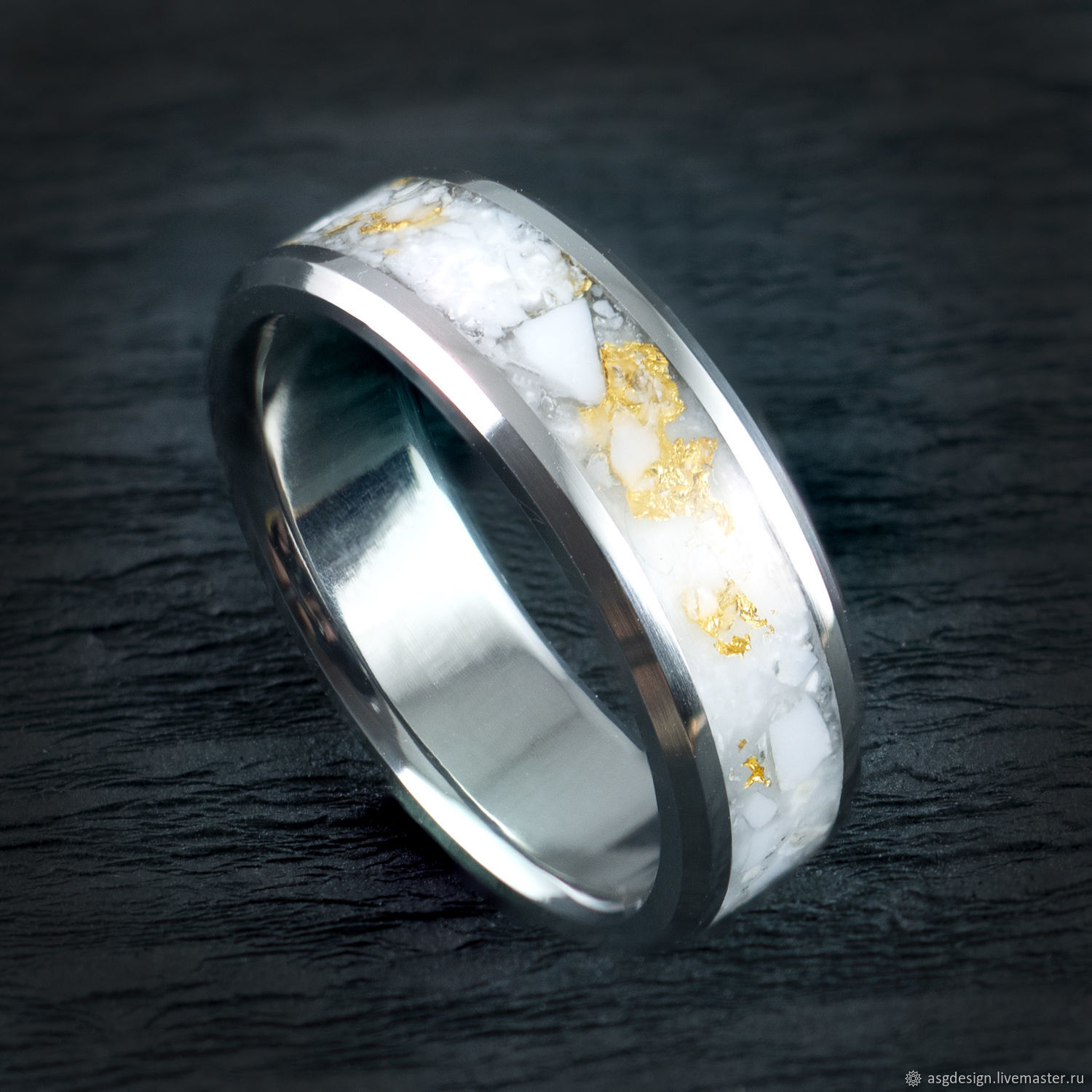 Titanium ring with gold-veined caholong, Rings, Moscow,  Фото №1