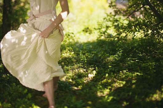 Юбки ручной работы. Ярмарка Мастеров - ручная работа. Купить Льняная юбка. Handmade. Белый, жатый лен, единственный экземпляр