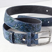 Аксессуары handmade. Livemaster - original item Dusty Blue Leather Belt, Lavender flowers. Handmade.