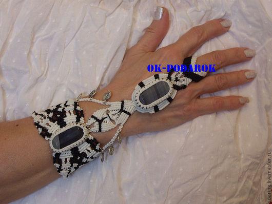 Браслеты ручной работы. Ярмарка Мастеров - ручная работа. Купить Слев браслет с серым Агатом. Handmade. Белый, восточный браслет