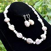 Украшения handmade. Livemaster - original item Necklace and earrings with natural pearls and rose quartz. Handmade.