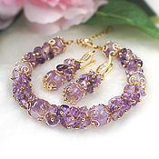 Украшения handmade. Livemaster - original item Set of jewelry made of amethyst (bracelet earrings). Handmade.