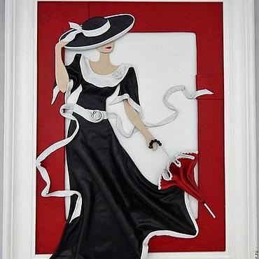 Картины и панно ручной работы. Ярмарка Мастеров - ручная работа Картина из кожи Дама с зонтиком. Объемная картина из кожи. Handmade.