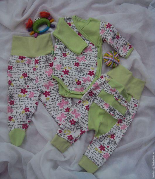 Одежда ручной работы. Ярмарка Мастеров - ручная работа. Купить Набор для новорожденного 3 предмета. Handmade. Комбинированный, для девочки, ползунки