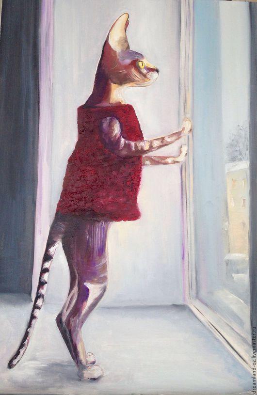 """Животные ручной работы. Ярмарка Мастеров - ручная работа. Купить Картина маслом """"История одной кошки. Возвращайся скорей"""". Handmade."""