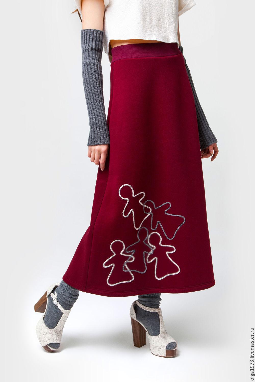 Юбки ручной работы. Ярмарка Мастеров - ручная работа. Купить Юбка теплая дизайнерская/ Юбка зимняя красная с куколками. Handmade.