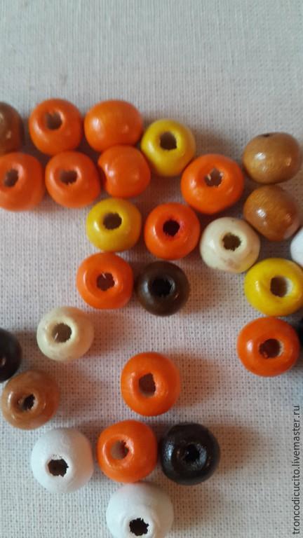 Для украшений ручной работы. Ярмарка Мастеров - ручная работа. Купить Бусины деревянные 8-9 мм. Handmade. Разноцветный
