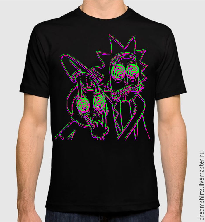 T-shirt with print 'Rick and Morty in 3D', T-shirts and undershirts for men, Moscow,  Фото №1