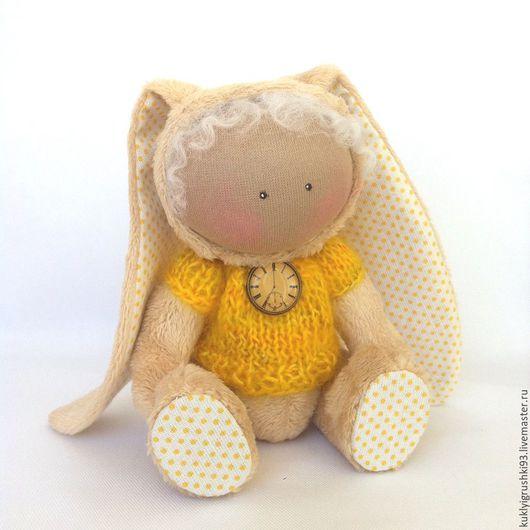 Куклы тыквоголовки ручной работы. Ярмарка Мастеров - ручная работа. Купить Зайка. Handmade. Желтый, текстильная кукла