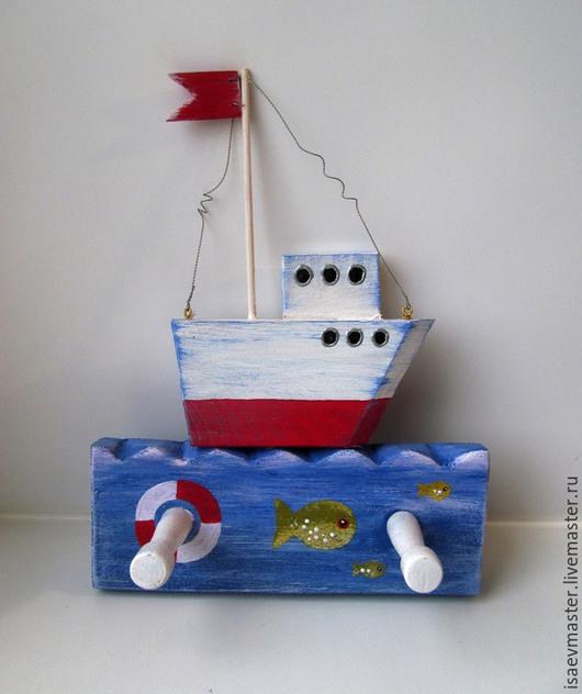 Детская ручной работы. Ярмарка Мастеров - ручная работа. Купить Вешалка Кораблик. Handmade. Разноцветный, море, морской, декор детской