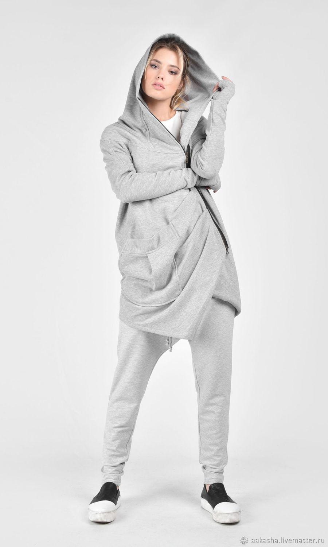 Дизайнерское пальто-толстовка. Модное пальто. Пальто с капюшоном , на молнии. Светло-серое пальто .